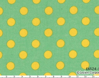 HALF YARD - Lecien Special Edition Color Basic - Color Basic - 4524-SGY  Green with Yellow Large Dots - Special Edition - Japanese Import