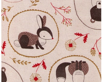 HALF YARD Cosmo - Forest Friends Cameos on Cream AP81304-2A - Cotton Canvas - Bear, Cat, Bird, Tree, Flower -Japanese Import