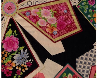 HALF YARD Yuwa - Fans  on BLACK 829571-A - Traditional Japanese Geometric - Yukata - Sakura, Cherry Blossom, Chrysanthemum Flowers