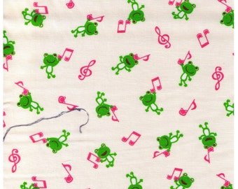 """End of Bolt - 26"""" Cut - Cosmo Textile - Frogs and Pink Music Notes on Cream"""