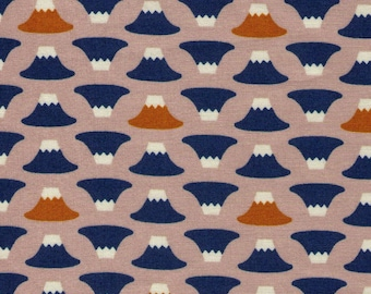 """End of Bolt - 64"""" Cut  - Mini Rows of Mount Fuji on Stone- Fujisan, Forest, Shrine, Traditional, Woodblock Print - Japanese Import Fabric"""