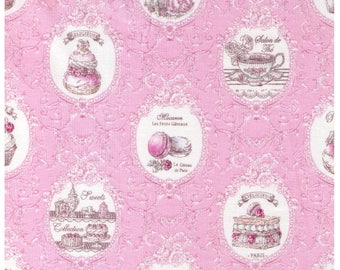 HALF YARD Yuwa - Elegance Tea Time - Pink Colorway 826340-C - Éclair, Macarons, Palmier, Tart, Cake, Cupcake, Dessert Pastry - Japanese