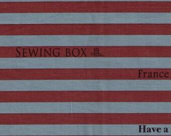 HALF YARD Yuwa - Fashion Magazine Text Stripes - Brown and Blue Lines  816904-H- Suzuko Koseki - Japanese Import Fabric