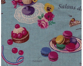 HALF YARD Yuwa - Sweets Rondeaux Linen Cotton Blend 442592-D - Paris Map of Sweets on BLUE - Macaron, Pastry, Eiffel Tower, Paris, Chocolate