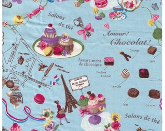HALF YARD Yuwa - Sweets Rondeaux - Paris Map of Sweets on Blue 822132-C - Macaron, Tea, Pastry, Eiffel Tower, Paris, Chocolate - Japanese
