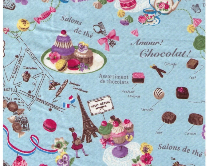 HALF YARD Yuwa - Sweets Rondeaux - Paris Map of Sweets on Blue - Macaron, Tea, Pastry, Eiffel Tower, Paris, Chocolate - Japanese Imported