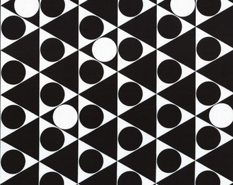 HALF YARD - First of Infinity Collection 31234-100 Gumballs Triangle Circles - Black and White  - Geometric  Lecien Japanese