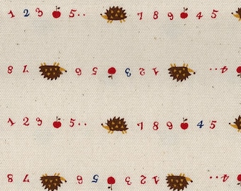 "End of Bolt - 25"" Cut - Kokka - Trefle Tiny Hedgehogs, Numbers and Apples on Natural - 3A - Cotton Oxford - Japanese Imported"