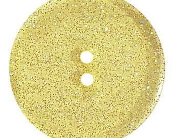 Glitter Button - 18 mm - Colorway Yellow - Glitters in light  - Made in Germany - Washable and Dry Cleanable