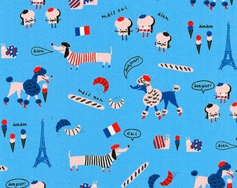 HALF YARD Hello Lucky - Paris Dogs and Toast on Blue - By Hello!Lucky for Robert Kaufman - Eunice Moyle and Sabrina Moyle