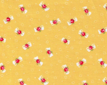 HALF YARD Yuwa - Petite Bows and Flowers on Yellow  - Atsuko Matsuyama 816879 C - Mini Ribbon - Japanese Import Fabric