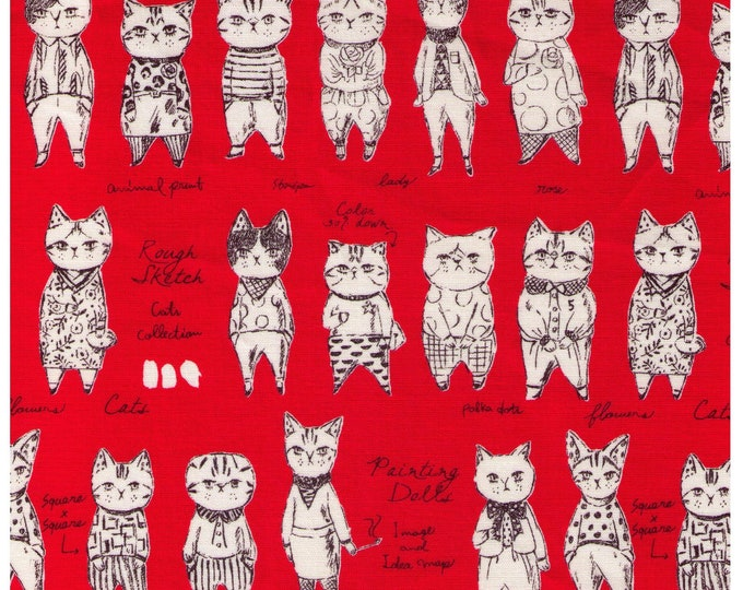 HALF YARD - Yuwa - Rough Sketch Cat Collection - Dressed Cats on RED - Sobakasu-Kids - Quilting Cotton