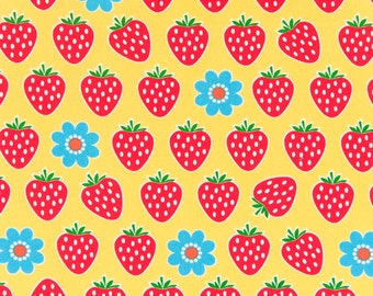 HALF YARD - Strawberries and Blue Daisies on YELLOW 41503-3E - Cosmo Textile Imported Japanese