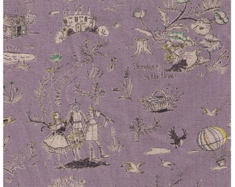 HALF YARD Yuwa - Wizard of Oz on Purple  - Miyako Kawaguchi - Cotton Linen Canvas - Fairy tale Wonderful Wizard
