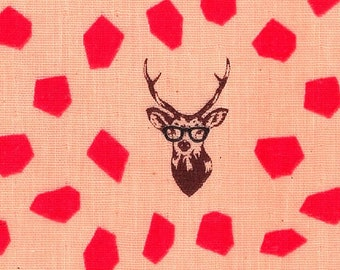 HALF YARD Kokka Echino - SAMBAR Jg96800-804B Pink - Deer Stag with Rough Dots - Cotton Double Gauze
