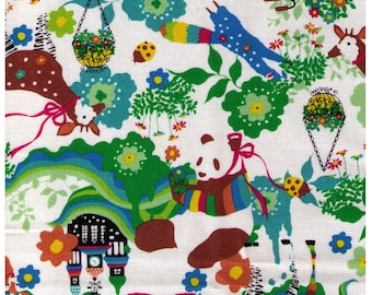 HALF YARD Kiyohara - Kayo Horaguchi - HKF-53G Brights on White - Panda, Castle, Deer, Ringtail, Tanuki -  Imported Japanese