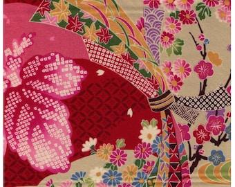HALF YARD Yuwa - 829333-B Red - Traditional Japanese Flowers, Geometric - Yukata