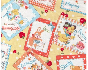 HALF YARD Yuwa - Little Animal Signs on Yellow - Atsuko Matsuyama 30s collection 116565E - Shopping Play Study Cleaning - Japanese Import