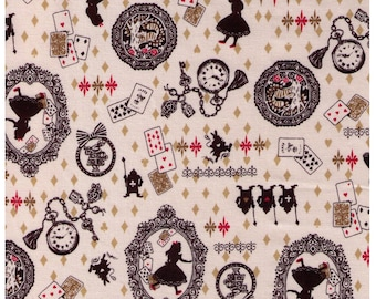 HALF YARD Kokka - Alice in Wonderland with Silhouette on Cream Natural  10340-1C - Rabbit, Cat, Hearts, Watch, Diamonds, Spades - Japan