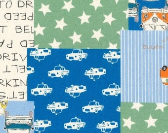 Sale HALF YARD Lecien - Nico Nico Land - Volkswagen Cheater Blue/Green 40832-60 - Cotton Oxford - Star, Bus, Beetle, Car - Japanese