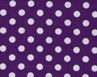 HALF YARD - Cosmo Textile Purple with White Polka Dots 8831-12U - Japanese Import Fabric