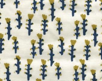 HALF YARD Kokka Eggpress - Seven Stems on Cream 5500-2B - Blue, Goldenseal Yellow - 100 Cotton Poplin