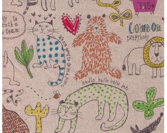 HALF YARD  - Come On Everybody! Animal Friends - Miyako Kawaguchi - Cotton Linen Canvas - Pig, Bear, Lion, Cat - Yuwa Kei