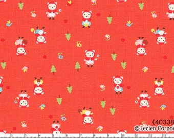 HALF YARD Lecien - Minny Muu Little Red Riding Hood Kitty on Watermelon Red by Koko Seki - Cat, Wolf, Grandmother - Japanese Imported Fabric