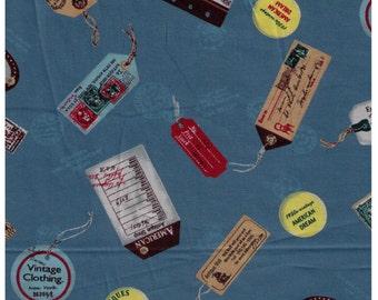 HALF YARD Yuwa - Luggage Tags on Blue - Suzuko Koseki 822008-E- Japanese Import - Paris Bonjour France Merci Modes 1950s Postage