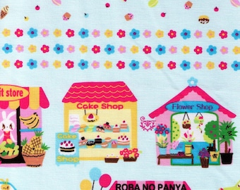 HALF YARD Bunny City Border on Blue - Nico Nico Land 40320-70 - Car, Village, Hot Dog, Flower Shop, Roba No Panya - Lecien - Japanese Fabric