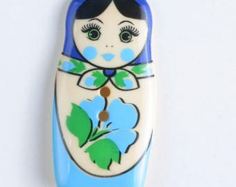 Matroyshka Button - BLUE Colorway 44 mm - Russian Nesting Doll - Made in Germany - Washable and Dry Cleanable 370652