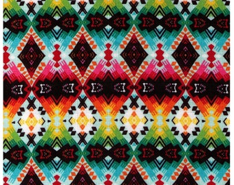 HALF YARD Yuwa Live Life - Southwestern Rainbow - Cotton Dobby - Geometric, Diamond, Stripes - Southwest, Santa Fe - Imported Fabric Japan