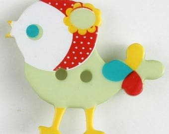 BIRD Button - LIME GREEN Colorway 25 mm - Made in Germany - Washable and Dry Cleanable 330881