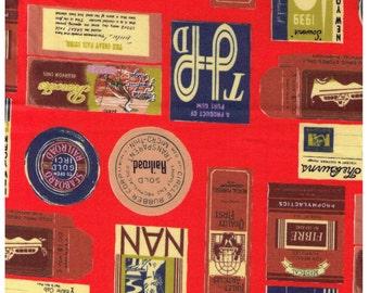 HALF YARD Yuwa - Travel Stamps on ORANGE - Suzuko Koseki 826205-B  Japanese Import - Tickets and Luggage Tags,  Paris Bonjour France 1950s