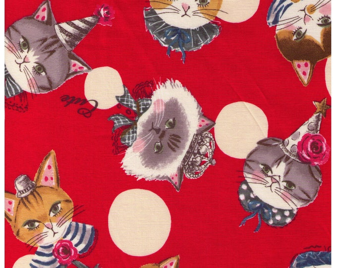 HALF YARD Yuwa - Party Hat Kitties -Polka Dots and Cats on Watermelon RED - Sobakasu-Kids - Grumpy, Flowers, Parties, hat Quilting Cotton