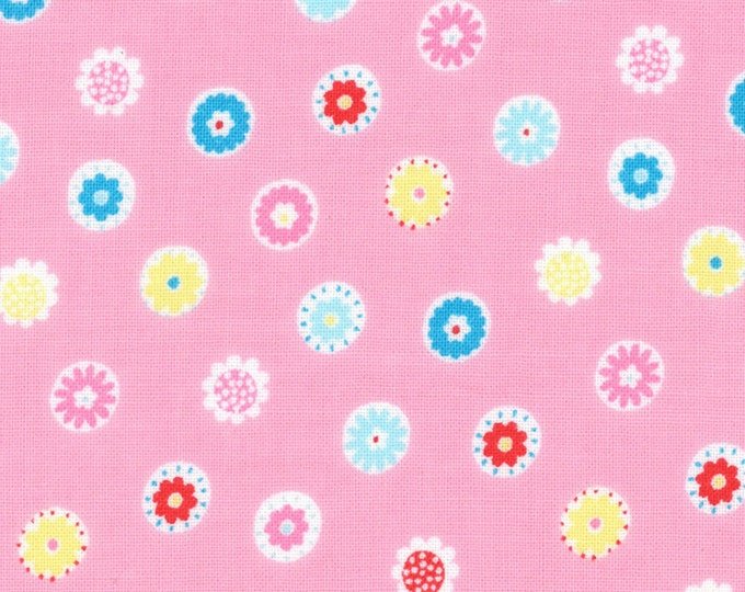 HALF YARD Lecien - Minny Muu PINK Flower Beads - Spring 2016 - Blue, Yellow, Red, Pink Daisies  Polka Dots - Japanese Imported