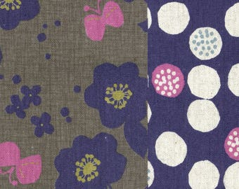 HALF YARD Lecien - Kanon Collection - Gingko, Floral and Dot Cheater in Winter - 40835-70 - Cotton/Linen Blend - Japanese Import