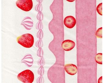 HALF YARD Cosmo Textile - Strawberry Cake and Cream Border Print - AP81403 D - Strawberries, Layered, Chocolate, whipped cream, Sponge