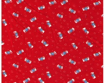 HALF YARD Yuwa -White Petite Bows and Flowers on Red - Atsuko Matsuyama 816879 D - Mini Ribbon Blue Roses - Japanese Import Fabric