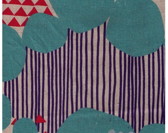 """End of Bolt - 29"""" Cut - Echino 2019 - Stone - Turquoise/Red Colorway 97030 31B - Cotton Linen Blend - Geometric, Stripe, Fox, Abstract"""