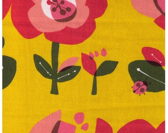 HALF YARD Lecien Large Flowers on Yellow 40929-50 - 85 Cotton 15 Linen Canvas - Flower, Floral, Ladybug, Bird, Leaf Japanese Import