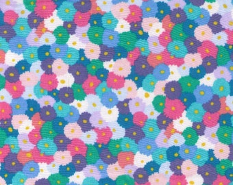 HALF YARD -  Pastel Watercolor Flowers - Pink, Blue, Teal Green and White - LAWN 35509-2C- Cosmo Textile Japanese Import Fabric