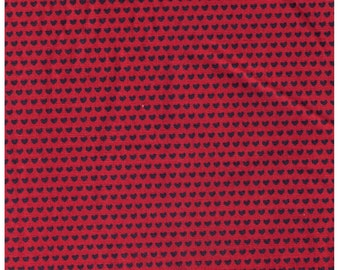 HALF YARD Creative Thursday - The Tinies - JG-50100-102D - Charcoal Hearts on Red - 85/15 Cotton Linen Blend Canvas