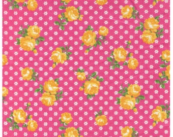 HALF YARD Yuwa - Yellow Sweet Rose on Tiny Daisies Dots on Dark Pink - Atsuko Matsuyama 116547-G - Japanese Import Fabric