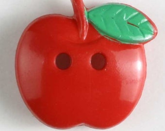APPLE Button - Red Colorway 19 mm - Made in Germany - Washable and Dry Cleanable