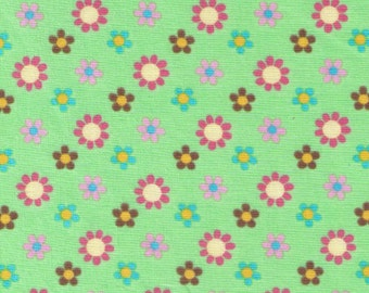 End of Bolt - Mini Flower Dots on Green - Yellow, Blue, Pink Daisies - Tick Tock Quilt Gate Japanese - Polka Dots