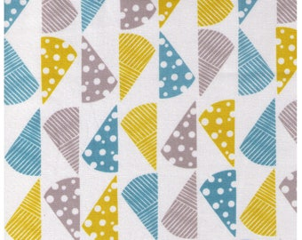 HALF YARD Yuwa Cotori Couture - Cheese Wedges on White Background - Designs by Anyan for Cotorienne - Yellow Grey Blue - Japanese  152164