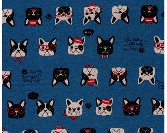 HALF YARD Cosmo Textile - French Bulldog Faces on Bright BLUE AP81409 2E - Cotton Linen Canvas - Glasses, Bowtie, Bandana, Dog Japanese