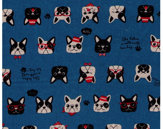 HALF YARD Cosmo Textile - French Bulldog Faces on Bright BLUE AP81409 2E - Cotton Linen Canvas - Glasses, Bowtie, Bandana, Dog Japanese