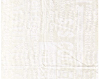 HALF YARD Yuwa - White Fashion Text on Cream - Low Volume Print - Suzuko Koseki SZ826547 - Japanese Import - Print